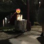 #弘前さくらまつり #ふらいんぐうぃっち 犬飼さんベンチで一杯飲んでる現在進行形、昨日うpした(仮称)リアル犬飼さん現在