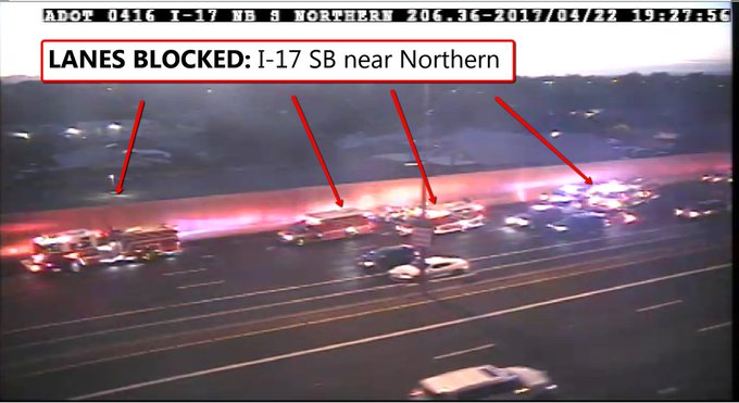 Two taken to hospital after motorycle crash at I-17 and Northern Saturday night. https://t.co/tdVqqDNfLe #abc15