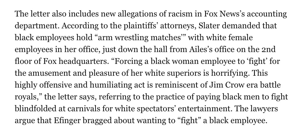 This is a claim from a racial discrimination suit filed by black @FoxNews employees. What in the entire hell, y'all. https://t.co/ZyzzwDJKJz