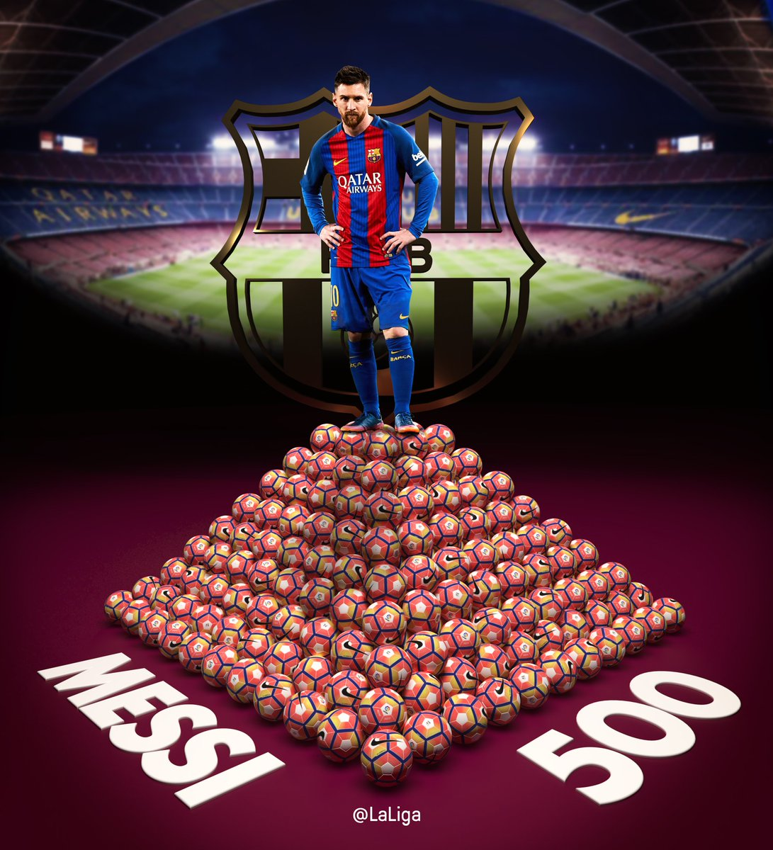 RT @LaLiga: Histórico #Messi... ¡500 goles con el @FCBarcelona_es!  #ElClasico https://t.co/2qfq662spp