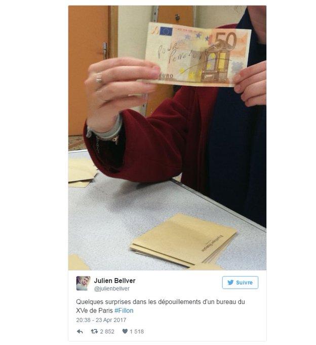 Paris: un électeur a glissé dans l'urne un billet de 50 euros 'Pour Penelope' https://t.co/rcnDqgilha