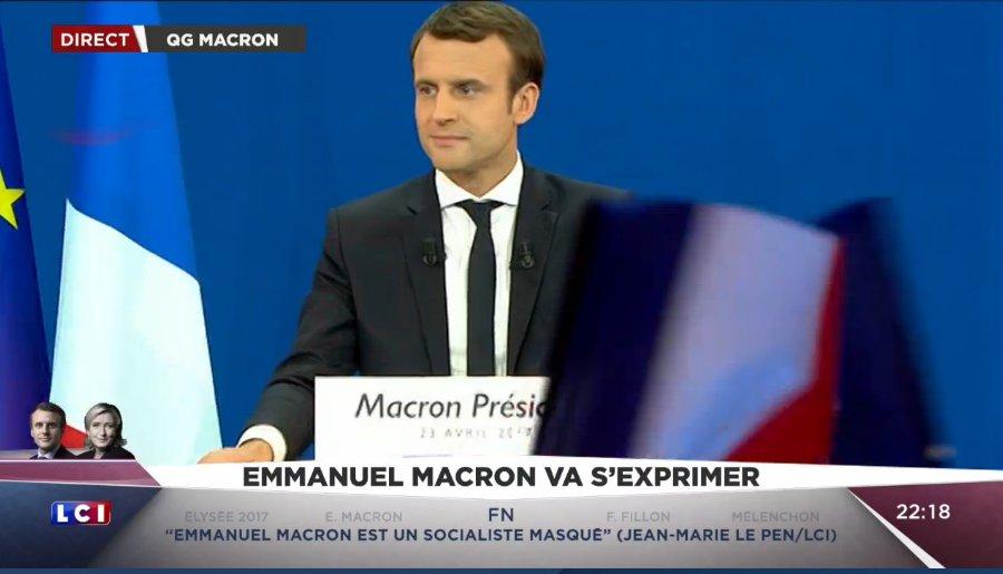 .@EmmanuelMacron : 'Je mesure l'honneur et la responsabilité qui me revient. Je veux saluer les autres candidats présents au 1er tour'