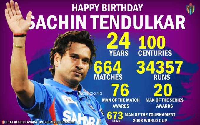Happy Birthday Sachin Tendulkar. The legendary cricketer turns 44 today.
