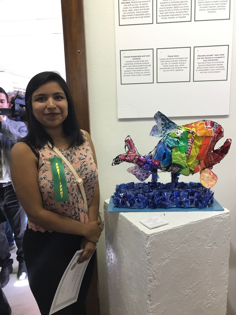 Kayla made a beautiful fish out of trash to raise awareness that by 2050 oceans will have more plastic than fish