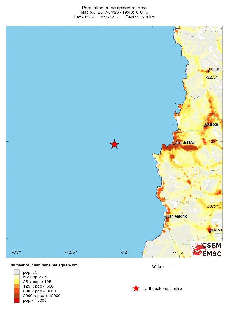Estimated population in the felt area: 7.1 millions inhabitants