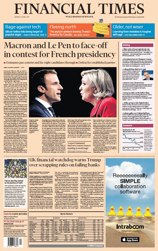 RT @SkyNews: 'FINANCIAL TIMES: 'Macron and Le Pen to face-off in the contest for French presidency' #skypapers' https://t.co/9WsFKVMLG5