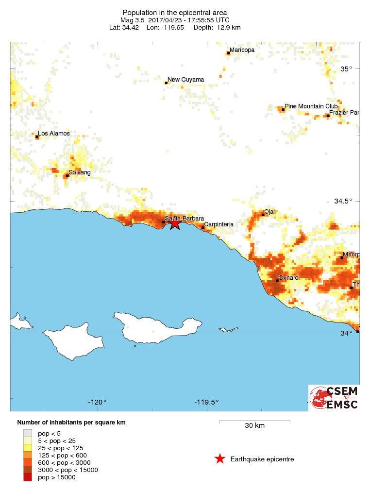 Estimated population in the felt area: 130,000 inhabitants