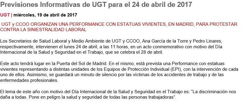 RT @UGT_Comunica: Mañana a las 11 en la Puerta del Sol, perfomance contra la siniestralidad laboral https://t.co/0QFwoZuu0J