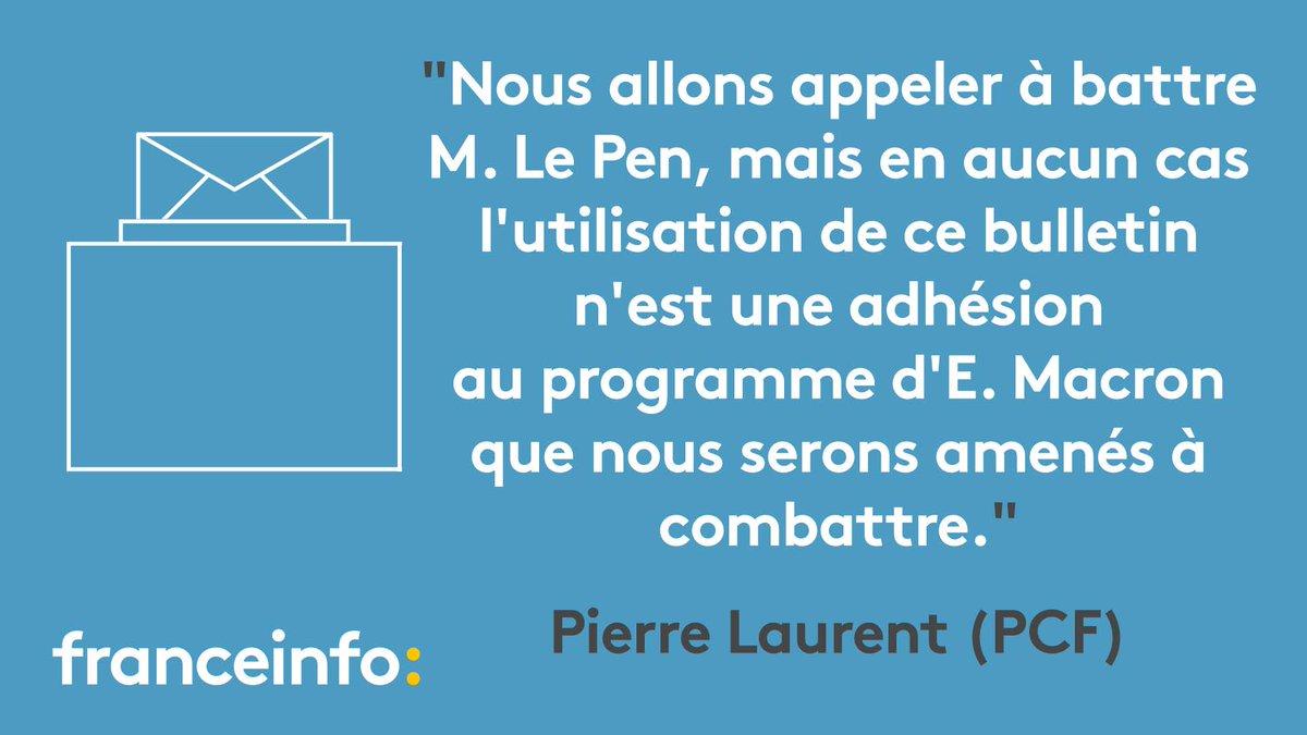 #Présidentielle2017 Pierre Laurent (PCF) appelle à 'battre' Marine Le Pen en votant Emmanuel Macron. Notre direct https://t.co/mu8ChwkIfi