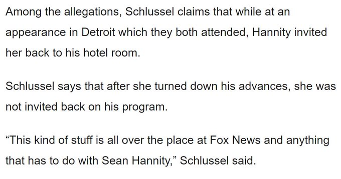 Fox News guest Debbie Schlussel accuses Sean Hannity of sexual harassment https://t.co/LdM9fXUm0v