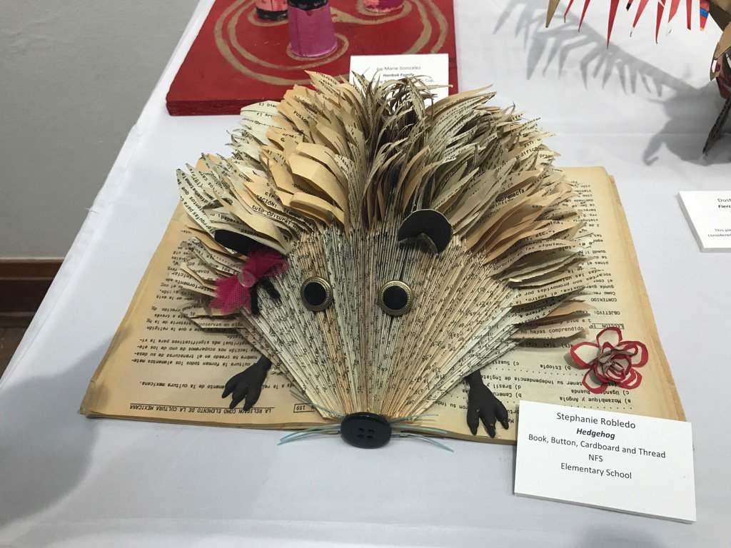 Stephanie's hedgehog - made out of a book someone had thrown away! So impressed by all the Recycled Art creators