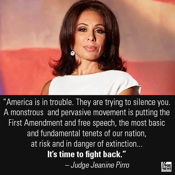 In her Opening Statement, @JudgeJeanine slammed left-wing 'snowflakes' trying to silence conservative free speech. https://t.co/an9r2l9szY