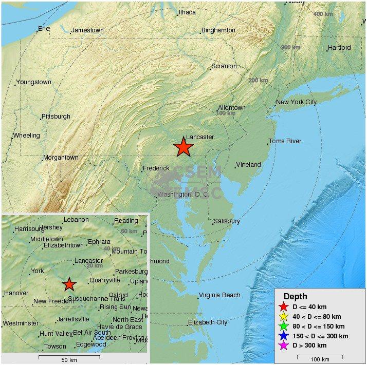Felt #earthquake (#sismo) M2.7 strikes 17 km S of #Lancaster (#Pennsylvania) 13 min ago. https://t.co/MFwGSAtcni