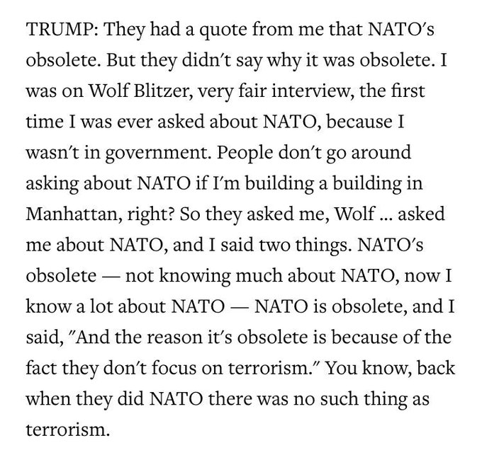 Trump explains that he only called NATO obsolete because he didn't know much about NATO: