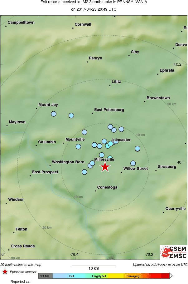 Map of the testimonies received so far following the #earthquake M2.3 in Pennsylvania 49 min ago