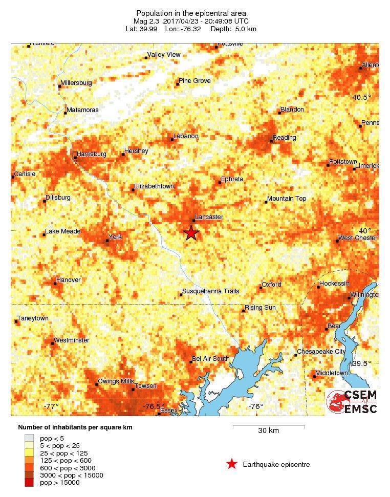 Estimated population in the felt area: 140,000 inhabitants