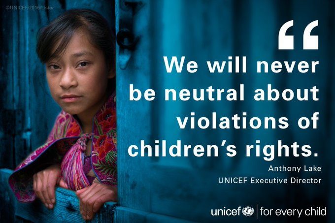 We will never be neutral about violations of children's rights. #foreverychild