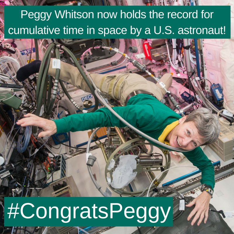 At 1:27 a.m. ET on April 24, @AstroPeggy has officially broken @Astro_Jeff's record of 534 days in space. Wish her well with #CongratsPeggy!