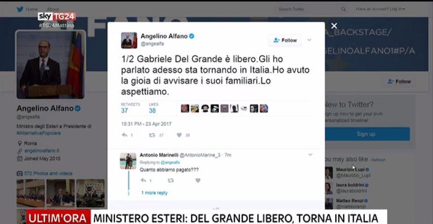 #UltimOra Ministero degli Esteri: Del Grande libero, sta tornando in Italia #canale50 https://t.co/0kxapzvQk0