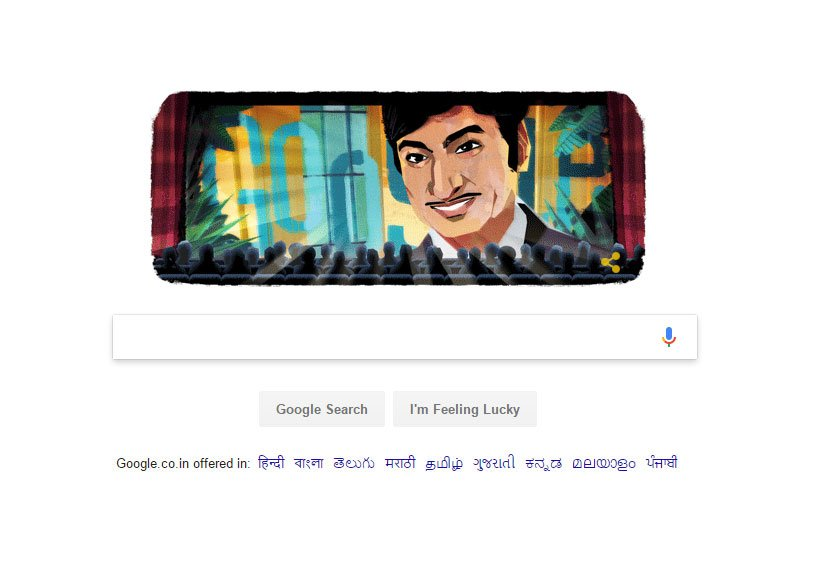 Google doodle honours Kannada  rajkumar