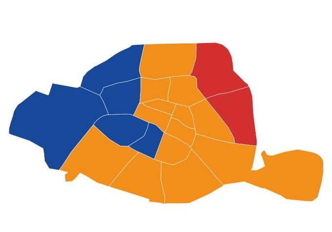 So hat Paris gewählt... via @Le_Figaro   blau= #Fillon orange= #Macron rot= #Melenchon