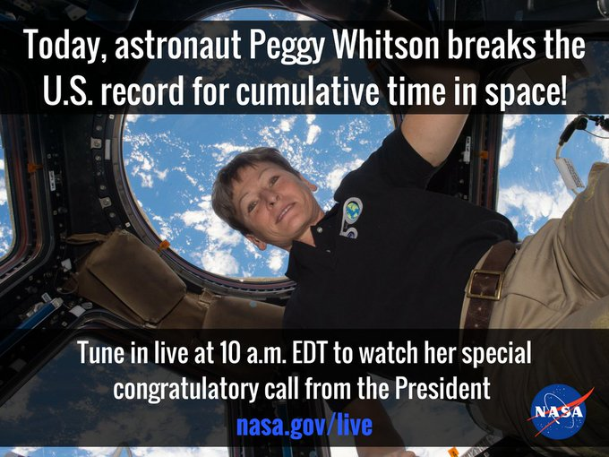 At 10 a.m. ET today, @POTUS will congratulate @AstroPeggy on her new record! Watch live on @NASA TV: https://t.co/iXp0BsUWQ1 #CongratsPeggy