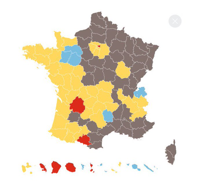 A country divided. Yellow: Macron ahead. Grey: Le Pen. (Blue, Fillon. Red, Mélenchon.) courtesy Le Monde.