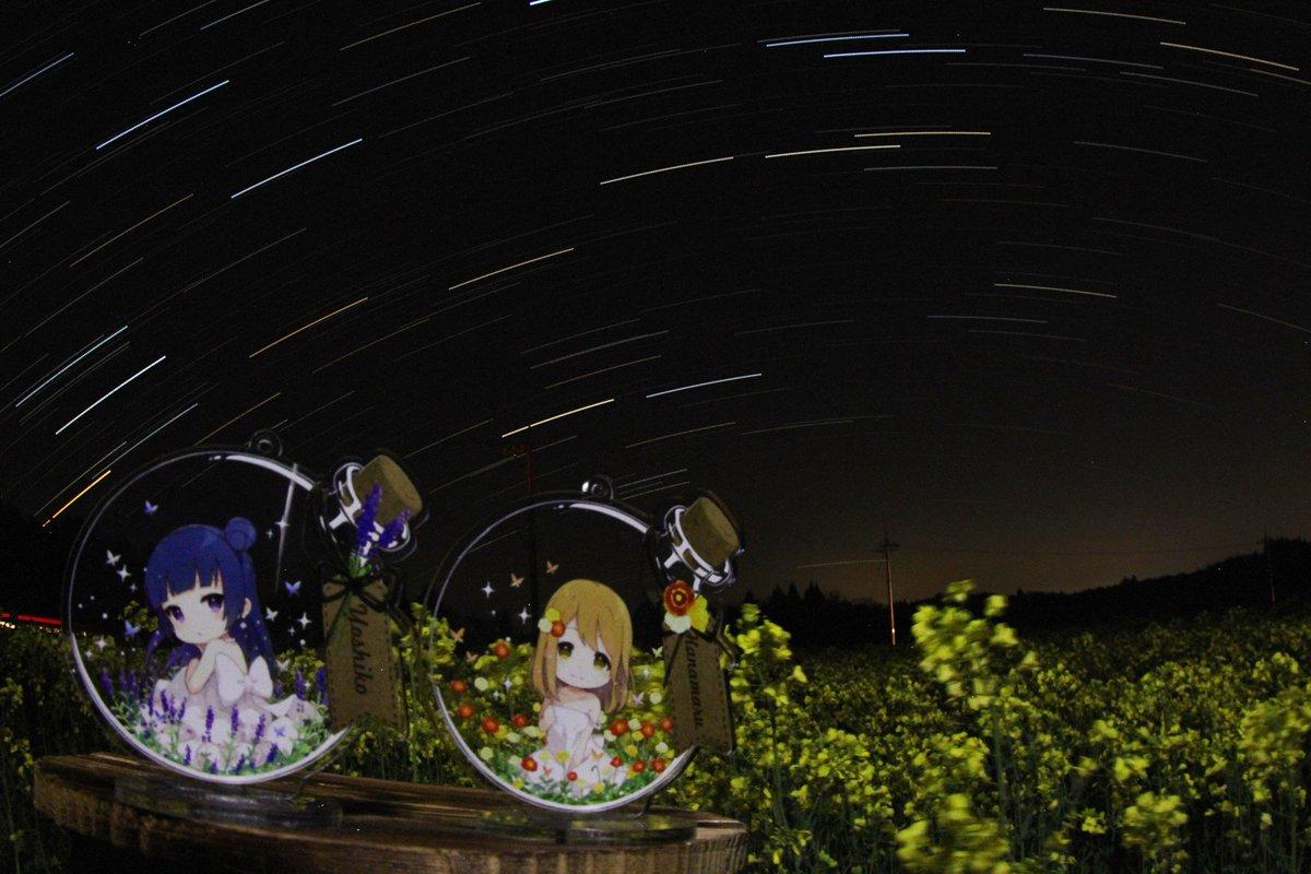 さくらもちさん()のよしまるアクキーと菜の花畑の星景写真です。二枚目はピント・F値の違う二枚の画像を比較明合成しました。