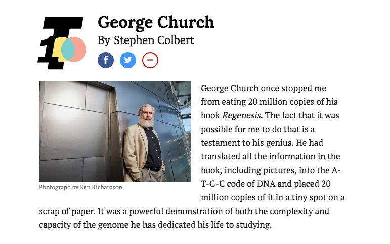.@geochurch named to #Time100, where @StephenAtHome calls him 'a cross between Darwin and Santa' https://t.co/aGRgv0uho4 #NextGreatDiscovery