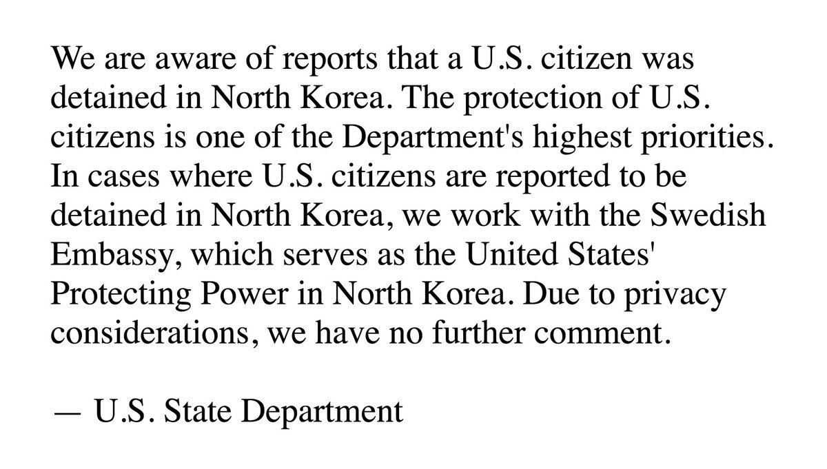 A third American is now being held in North Korea  Here's the State Department's statement ⬇️ https://t.co/uKMCQJexd4