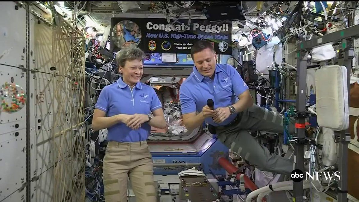 Pres. Trump speaks with NASA astronauts aboard ISS, including Peggy Whitson, who broke U.S. spaceflight record for cumulative time in space.