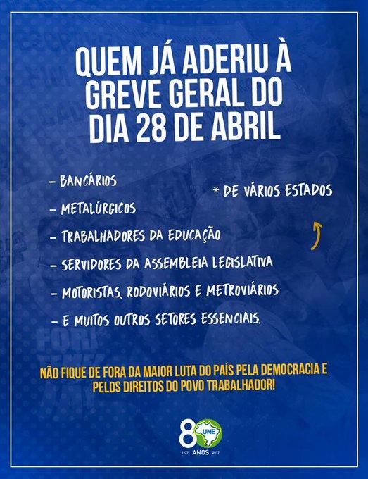 Greve Geral do dia 28 de Abril só cresce. Você não pode ficar de fora de mais uma luta do povo! Participe também! #28A #GreveGeral ##28érua