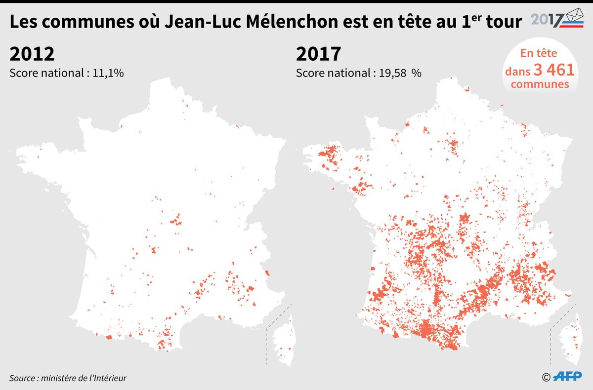 Les communes où Jean-Luc Mélenchon est en tête au 1er tour - résultats définitifs #AFP par @AFPgraphics