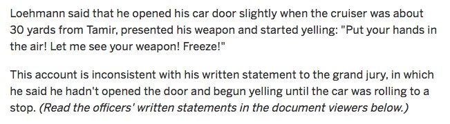 The cop who fired at Tamir Rice told investigators that he opened his car door to yell a warning. He told the grand jury something else.