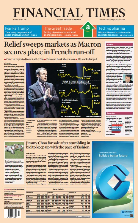 FINANCIAL TIMES FRONT PAGE: 'Relief sweeps markets as Macron secures place in French run-off' #skypapers