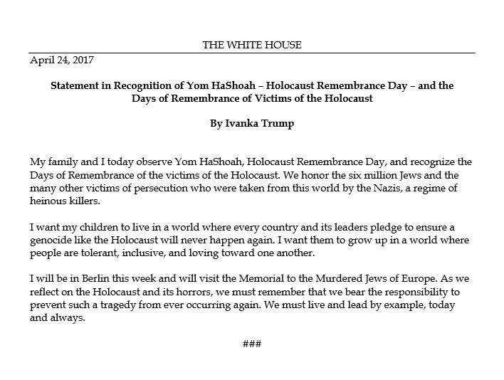 NEW: @IvankaTrump issues statement on Holocaust Remembrance Day, says every country and leader has obligation to prevent genocide.