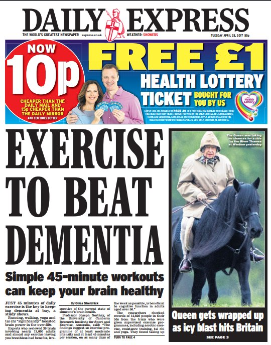 DAILY EXPRESS FRONT PAGE: 'Exercise to beat dementia' #skypapers