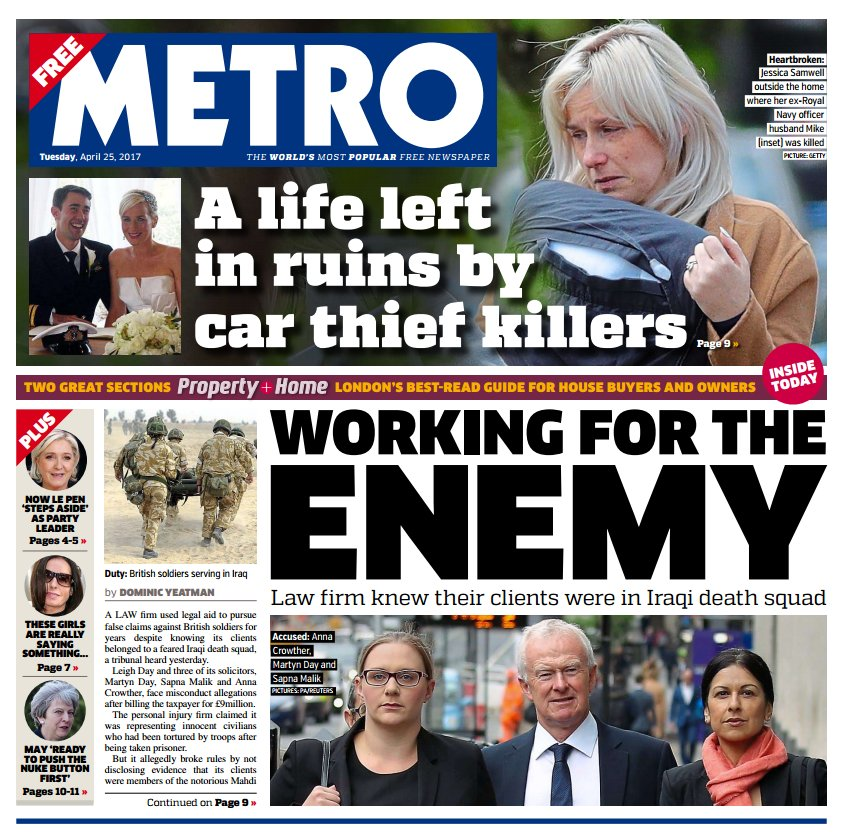 METRO FRONT PAGE: 'Working for the enemy.' #skypapers