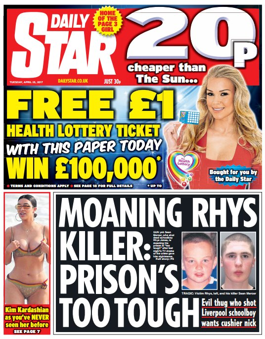 DAILY STAR FRONT PAGE: 'Moaning Rys killer: prison's too tough' #skypapers