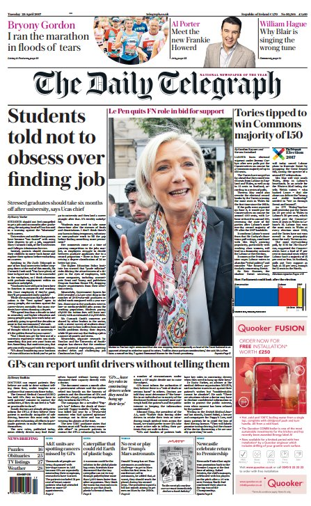 THE DAILY TELEGRAPH FRONT PAGE: 'Students told not to obsess over finding a job' #skypapers