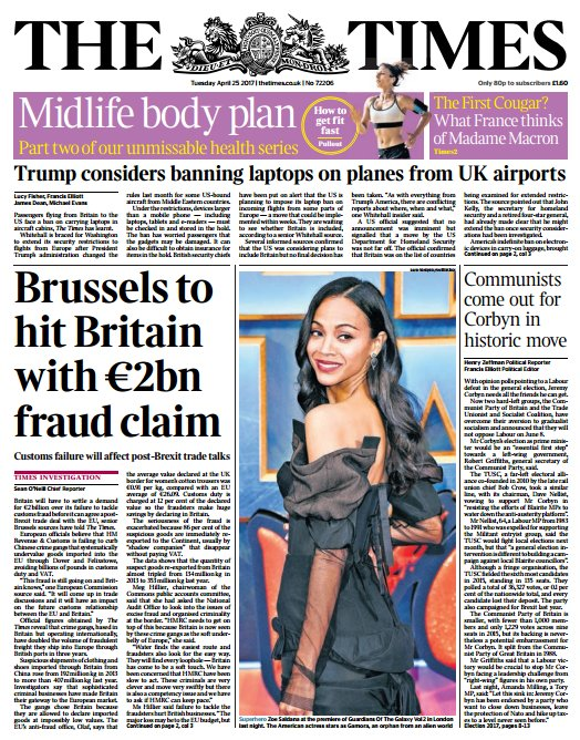 THE TIMES FRONT PAGE: 'Brussels to hit Britain with 2bn euro fraud claim' #skypapers
