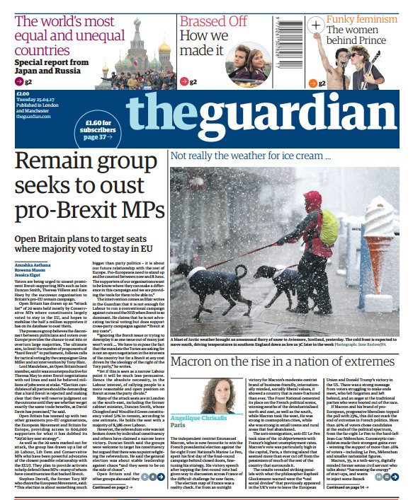 THE GUARDIAN FRONT PAGE: 'Remain group seeks to oust pro-Brexit MPs' #skypapers