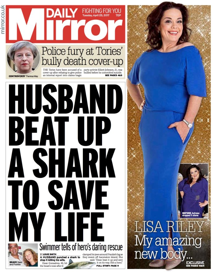 DAILY MIRROR FRONT PAGE: 'Husband beat up shark to save my life' #skypapers