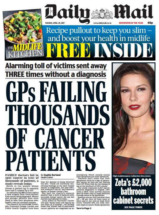 DAILY MAIL FRONT PAGE: 'GPs failing thousands of cancer patients' #skypapers