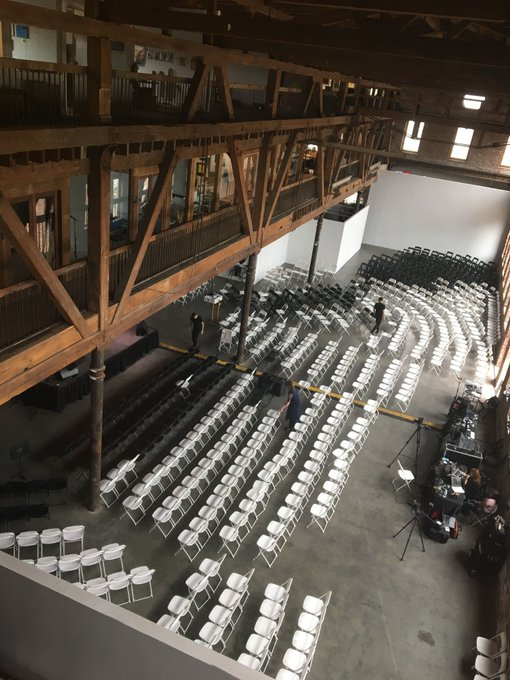 Setting up for The Universe in Verse tonight at @PioneerWorks_! We have a full house of 800 but we're livestreaming: https://t.co/0109WK7d0M