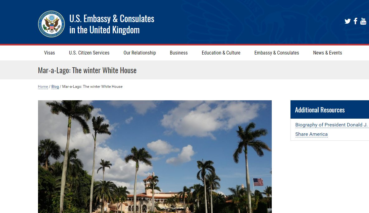 US State Dept. websites post glowing descriptions of Pres. Trump's business in south Florida. https://t.co/LCfyTZyFXb