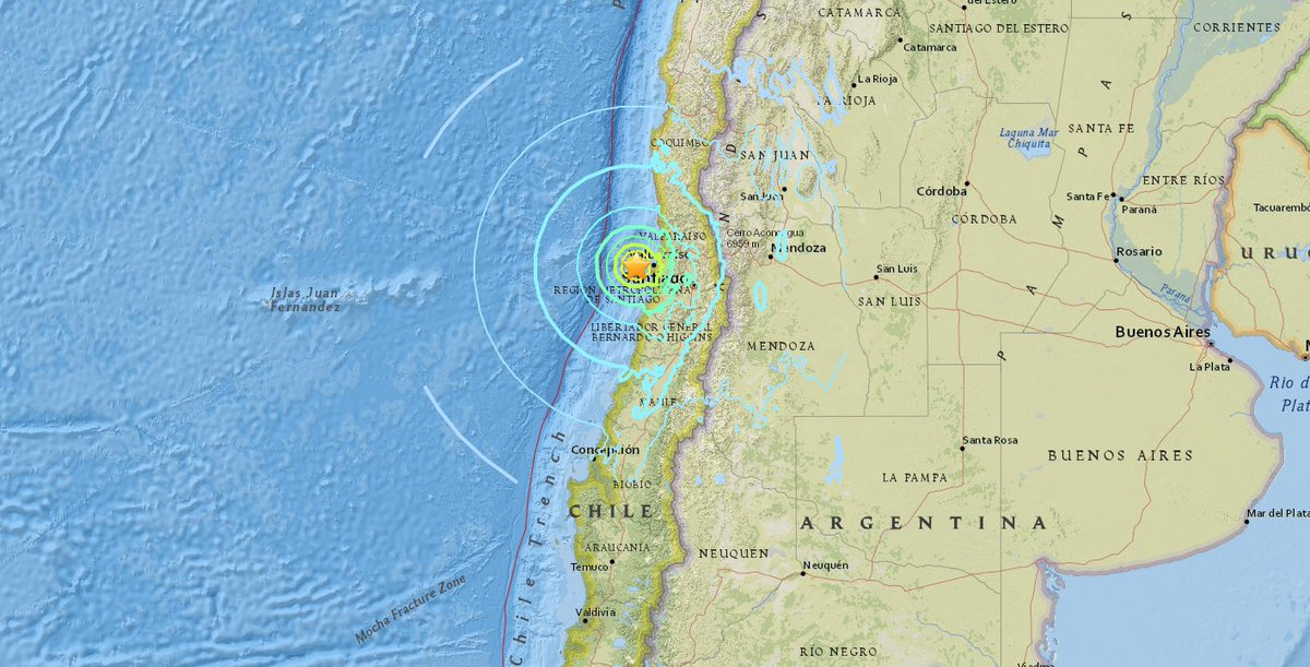USGS Preliminary magnitude 7.1 earthquake hits off the coast of Valparaiso, Chile.