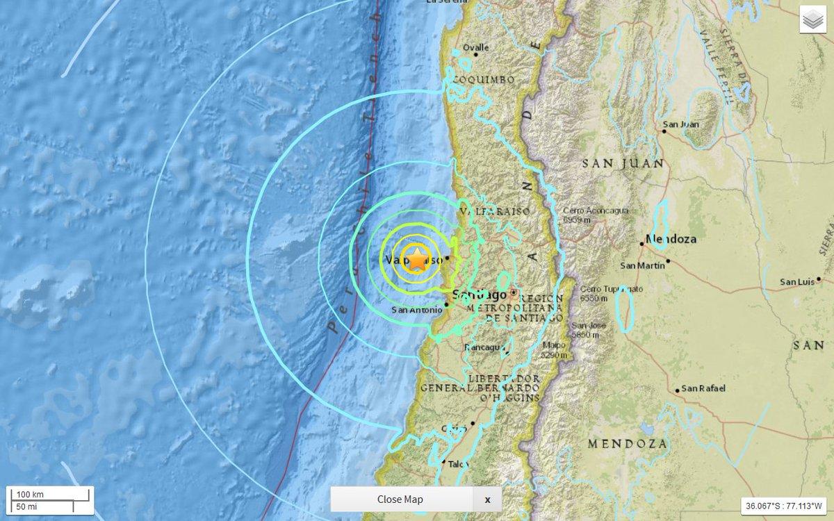 Preliminary M7.1 earthquake strikes near Valparaiso, Chile https://t.co/kqKdt1sdMp  Report what you felt here - https://t.co/7fZDym7JCT