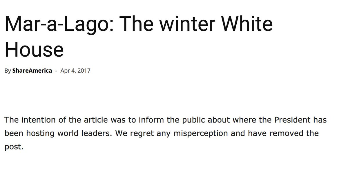 .@StateDept article on Mar-A-Lago has been taken down: 'The intention of the article was to inform the public...' https://t.co/eTQiTlINCZ