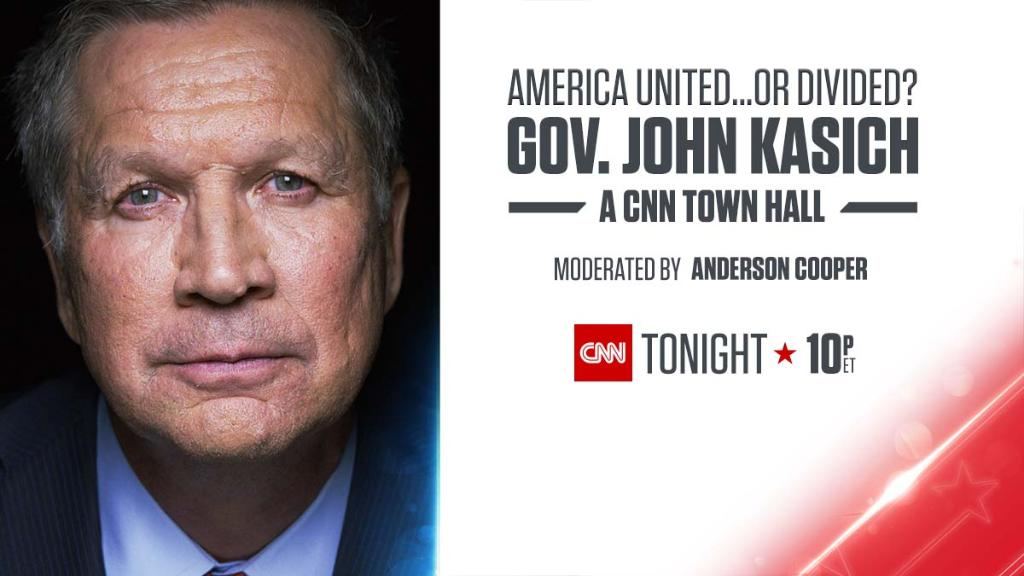 America United or Divided? #KasichTownHall moderated by @andersoncooper airs tonight at 10pm ET https://t.co/3MrhWLXDy5